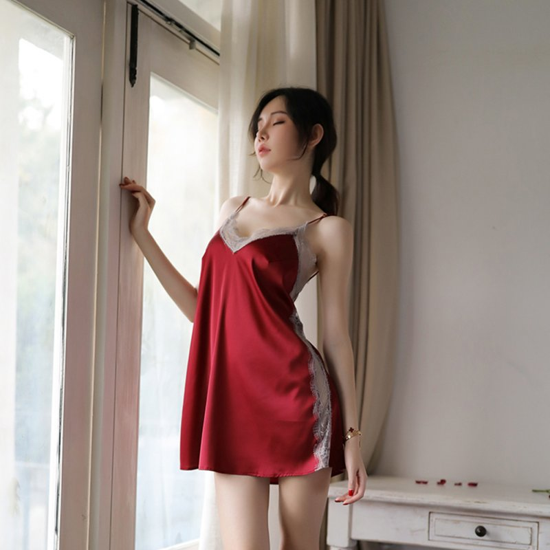 Lady Sexy Ice Silk Sling Nightdress + Briefs Temptation Lingerie Underwear Sleepwear Pajamas wine red_One size