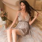 Lady Sexy Lingerie Lace Floral Backless Sling Nightdress + Briefs Temptation Underwear gray_One size