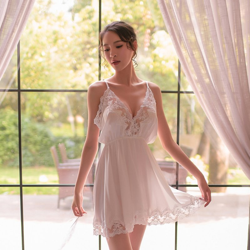 Lady Sexy Lingerie Set Deep V-Neck Lace Sling Nightdress + Briefs Temptation Underwear Nightgown white_One size