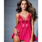 Lady Slip Dress Lace Brim Pajamas Nightdress Pure Color Woman See-through Sexy Underwear  Rose red_Free size