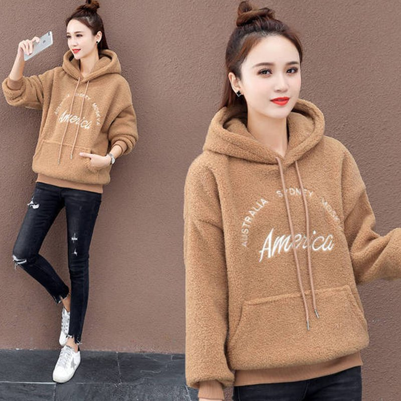 Lady Thicken Plush Hoodie Sweatshirt Embroidery Letters Autumn Winter Warm Loose Pullover Khaki_L