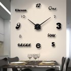 Large Acrylic Mirror Surface DIY Mute Wall Clock Sticker Living Room Decor(without Battery) black