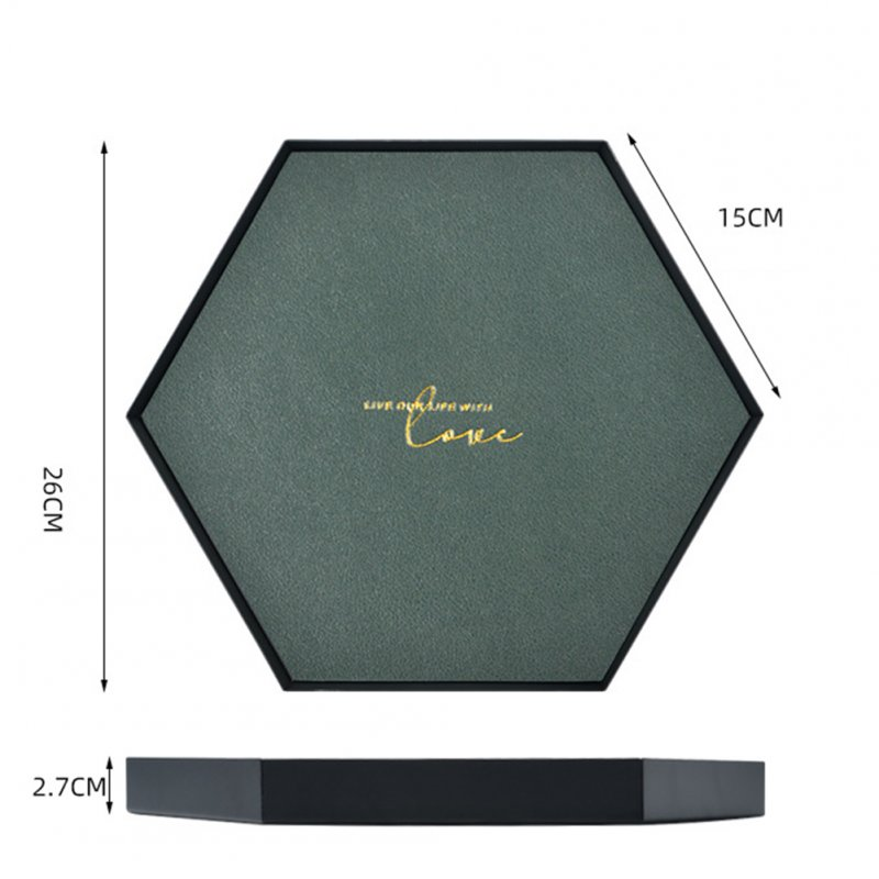Large Capacity Geometric Storage Tray with Leather Pad  green_Hexagon large