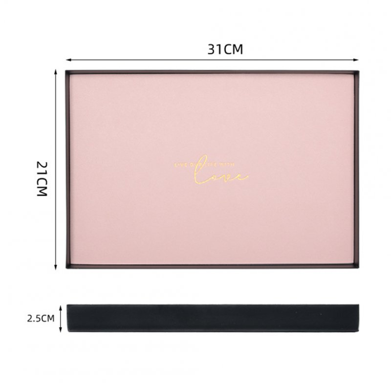 Large Capacity Geometric Storage Tray with Leather Pad  Pink_Rectangular large
