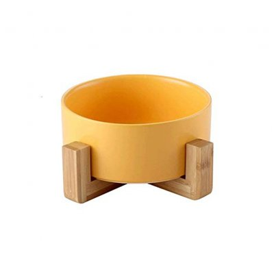 Large Capacity Pet Ceramic Feeding Bowl with Wood Frame for Cat Dog Food Yellow