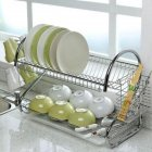 Large Capacity Stainless Steel 2 Layer Dish Drainer Drying Rack for Kitchen Storage