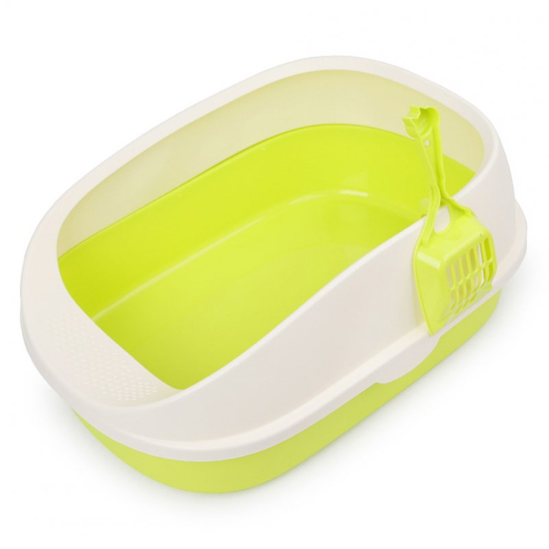 Large Cat Litter Box Plastic Cat Toilet with Cat Litter Shovel Pets Indoor Sandbox green_56*38*22cm