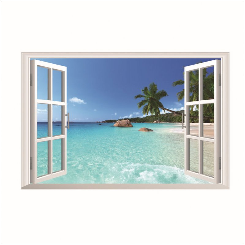 Large Removable Window w. Beach WALL STICKER