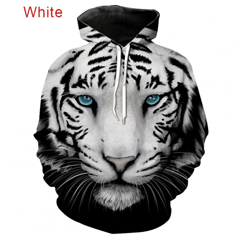 Large Size 3D Black White Tiger Printing Hooded Sweatshirts for Men Women Lovers Black and white tiger_4XL