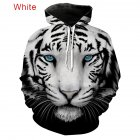 Large Size 3D Black White Tiger Printing Hooded Sweatshirts for Men Women Lovers Black and white tiger_M