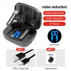 Lb-8 Bluetooth  Earphones True Wireless Headphones 5.0 Tws In-ear Earbuds Ipx5 Waterproof Earphones black