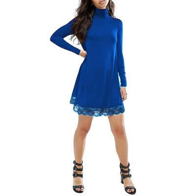Women Lace Turtleneck Loose Knit Dress