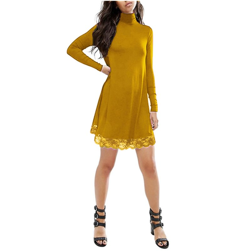 Leadingstar Women Lace Long Sleeve Knit Dress
