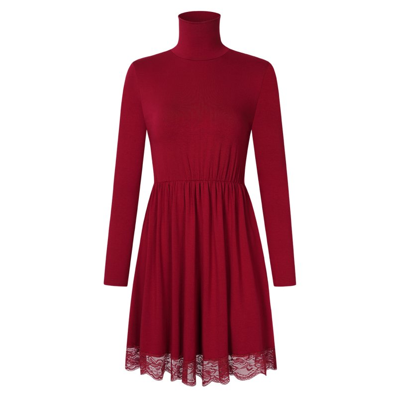 Women Lace Turtleneck A-Line Casual Dress