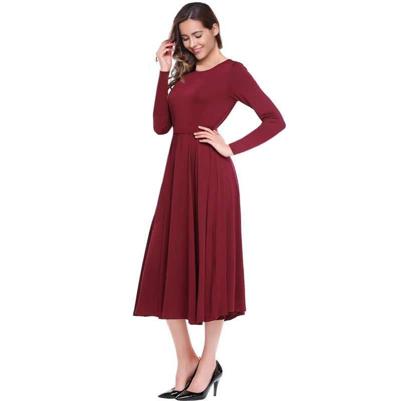 Women's A-Line Fit and Flare Midi Dress