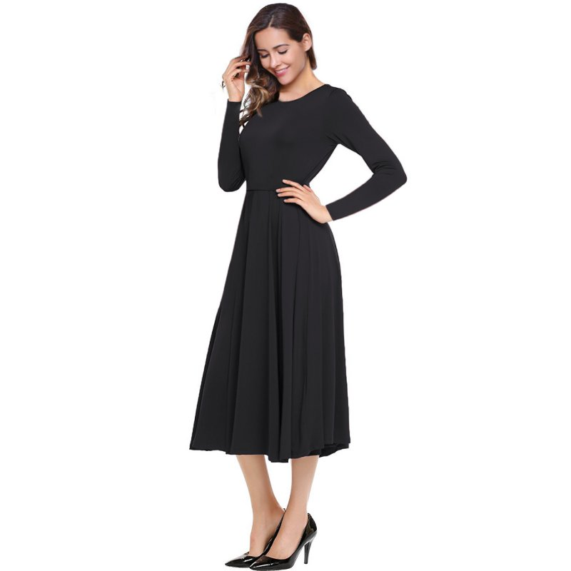 Women A-Line Fit and Flare Midi Dress Black