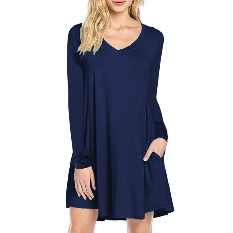 Women's V-neck Casual T-shirt Dress