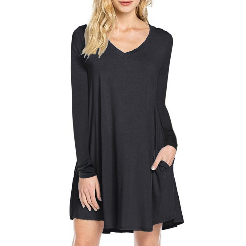 Leadingstar Women's T-shirt Dress -Black XL