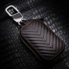 Leather Car Keychain Key Holder Bag Beige Black Case Wallet Bag