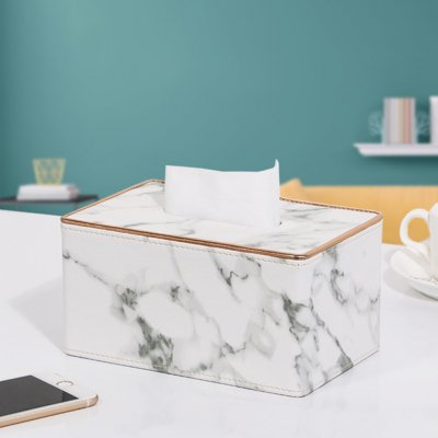 Leather Density Board Tissue Box Napkin Holder Home Tabletop Organize White marble S