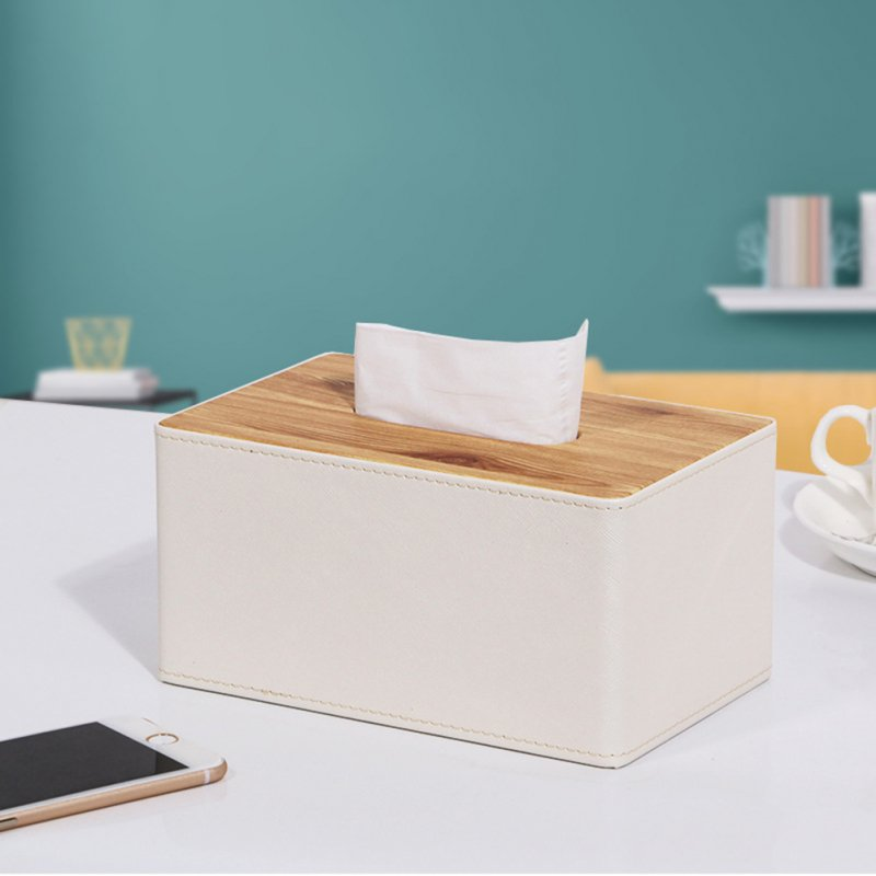 Leather Density Board Tissue Box Napkin Holder Home Tabletop Organize teak S