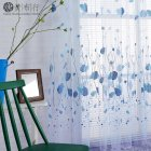 Leave Printing Curtain Tulle for Living Room Bedroom Children Room Window Screening kitchen Sheer Curtain blue_W100cm*H200cm