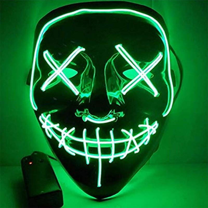 Led Mask for Halloween EL Light KTV Dance Party Scary Mask green