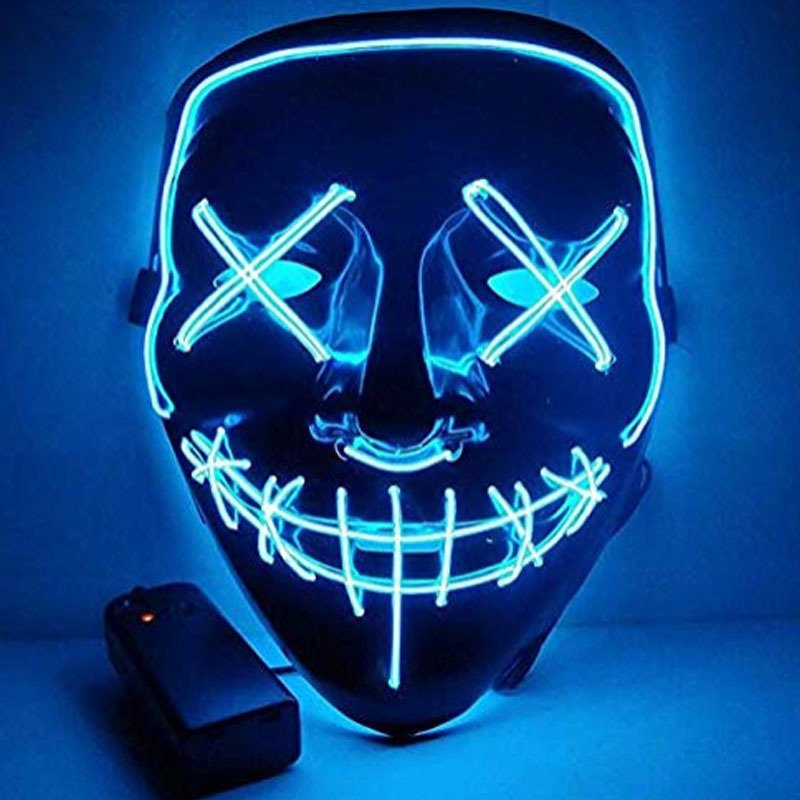 Led Mask for Halloween EL Light KTV Dance Party Scary Mask Clear Blue
