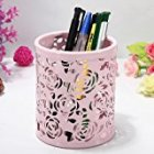 Leegoal(TM) Hollow Rose Flower Metal Pen Pencil Cup Holder Desk Organizer (Pink)