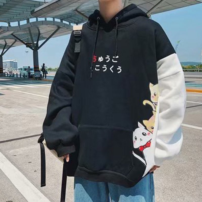 Leisure Sweater with Cartoon Pattern Printed Loose Pullover Shirt for Man black_XL