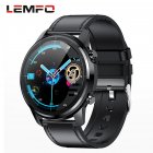 Original LEMFO LF26 Round Dial Smart Bracelet 150mAh IP67 Waterproof Bluetooth 5.0 1.3 inch Full HD IPS Screen Watch black_Black leather strap