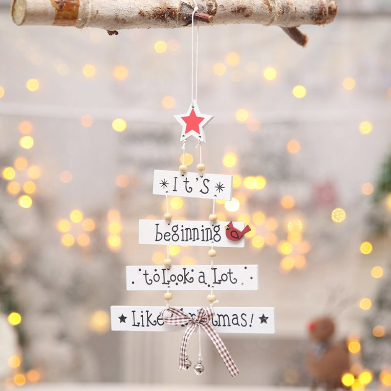Letter Printing Wooden Hanging Pendant for Christmas Decoration white