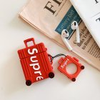 Letter Suitcase Inspired Silicon for Airpods Case Cover with Ring Holder red