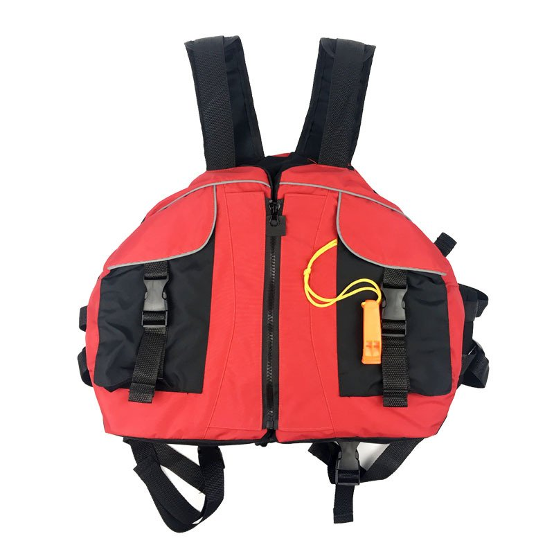 Life Vest with Whistle Swimming Boating Drifting Water Sports Jacket Polyester Adult Life Vest Jacket red_One size-adjustable size