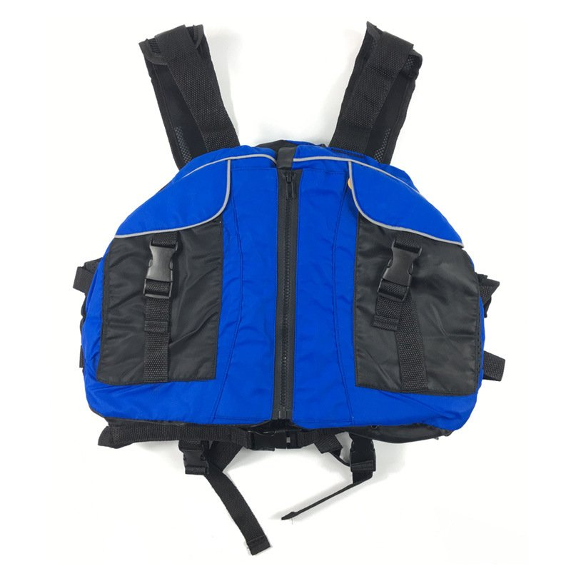 Life Vest with Whistle Swimming Boating Drifting Water Sports Jacket Polyester Adult Life Vest Jacket blue_One size-adjustable size