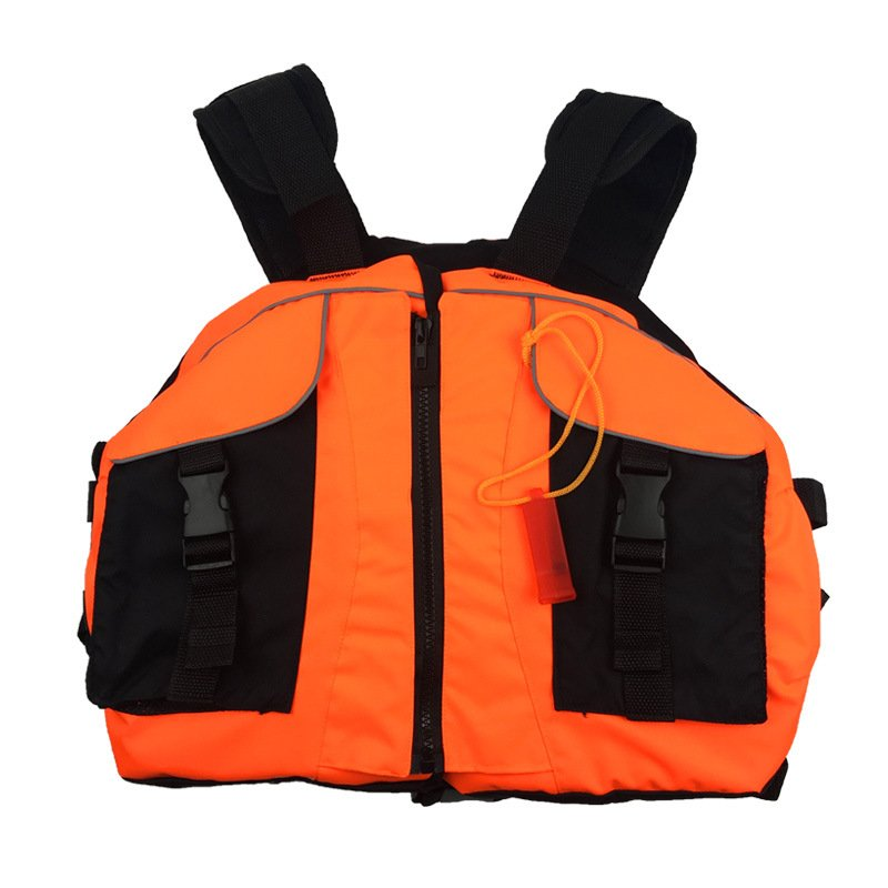 Life Vest with Whistle Swimming Boating Drifting Water Sports Jacket Polyester Adult Life Vest Jacket Orange_One size-adjustable size