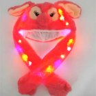 Lighting Lovely Cartoon Jumping Animal Ears Soft Plush Hat Air Bladder Cap Red owl