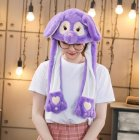 Lighting Lovely Cartoon Jumping Animal Ears Soft Plush Hat Air Bladder Cap Purple owl