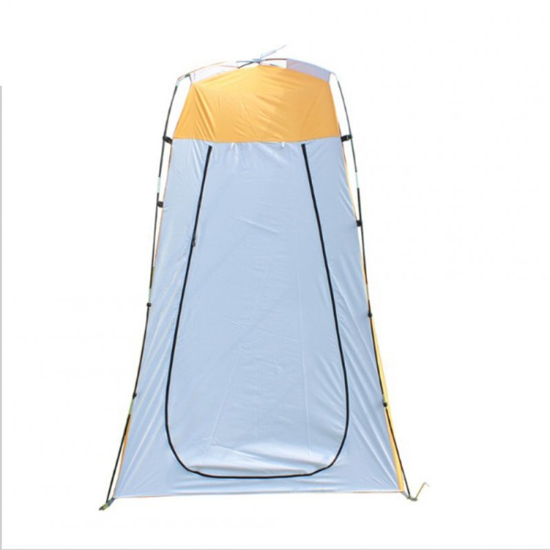Lightweight Portable Camping Shower Tent Awning Canvas Folding Outdoor Toilet Room for Privacy Showing Changing Clothes Yellow gray_Single door