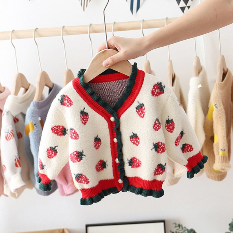 Little Girl Children Kids Sweet Long Sleeve Sweater Jacket Strawberry V-neck Cardigan Coat Strawberry sweater coat white_100cm