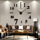 Living Room Large Mirror Clock Art Design 3D DIY EVA Hanging Wall Clock Black mirror