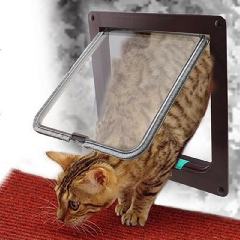 Lockable Security Flap Door Controllable Access Openings Window for Pet Dogs Cages Brown_L