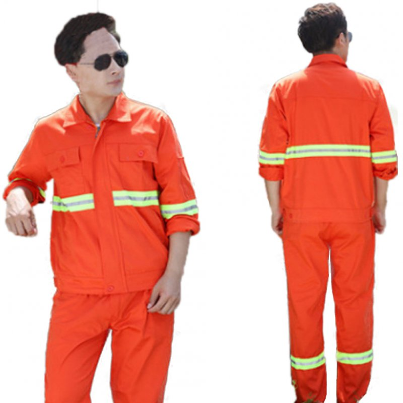 Long Sleeve with Reflective Strip Working Suit Set for Workers Outfit Wear Orange_XL