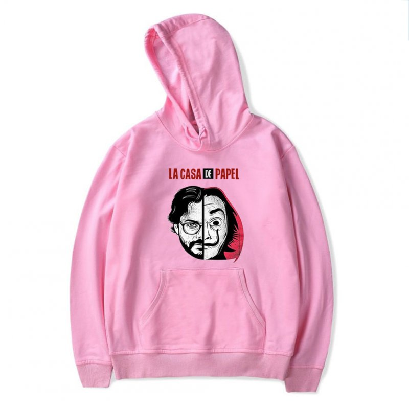 Long Sleeves Hoodie Loose Sweater Pullover with Unique Pattern Decor for Man and Woman Pink E_XL