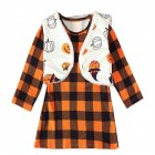 Long Sleeves Plaid Dress with Vest Halloween Party Dress with Pumpkin Pattern Decor for Girls Orange CC01652_90 yards