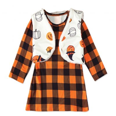 Long Sleeves Plaid Dress with Vest Halloween Party Dress with Pumpkin Pattern Decor for Girls Orange CC01652_110 yards