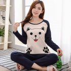Long Sleeves Sleepwear Suit Cartoon Pullover Top Wide Pants Home Pajama Set 2. Long sleeve #Smile face cat_M