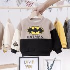 Long Sleeves Velvet Sweater with Cartoon Pattern Decor Winter Cotton Kids Pullovers Beige 100cm