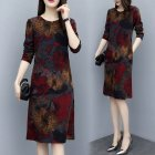 Long Sleeves and Round Neck Dress with Floral Printed Casual Loose Dress for Woman Wine red lotus_XXL