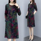 Long Sleeves and Round Neck Dress with Floral Printed Casual Loose Dress for Woman Green elephant flower_M